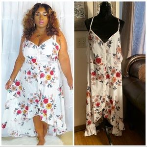 Plus Size White Floral High-Low Dress